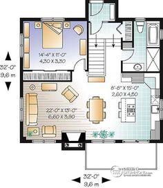 Plan Zemin kat İskandinav tarzı dağ evi Planı panoramik görüntüsü, 3-4 yatak odası, 2 salon, 2 şömine, açık plan - Quintaline
