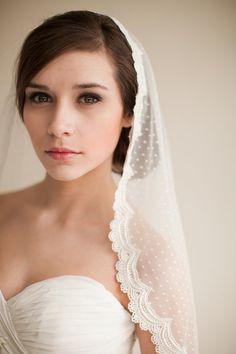 Dotted Lace Veil, Mantilla Veil, Elbow Length Veil, Waist Length Veil, Swiss Dot Veil, Point d' Esprit Veil - Emma  MADE TO ORDER