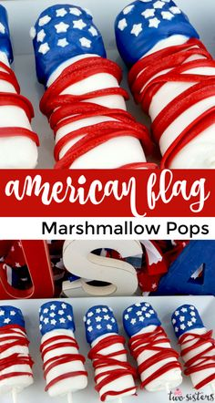 American Flag Marshmallow Pops are unique and delicious 4th of July treats. So easy to make and you won't believe how delicious this Red White and Blue dessert is to eat. They would be a fun Fourth of July dessert for your 4th of July Party. Pin this great 4th of July dessert for later and follow us for more fun 4th of July Food ideas. #4thofJuly #fourthofjuly #4thofJulyTreats #4thofJulyDesserts #4thofJulyFoodIdeas Blue Desserts, 4th Of July Desserts, Fourth Of July Food, 4th Of July Party, July 4th, Marshmallow Desserts, Marshmallow Pops, Patriotic Crafts, July Crafts