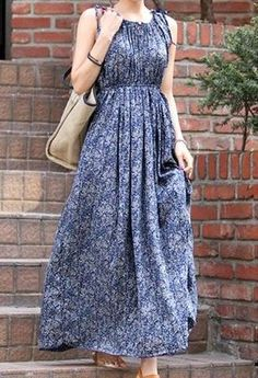 Vintage-Kleid elastische Taille Bedruckt