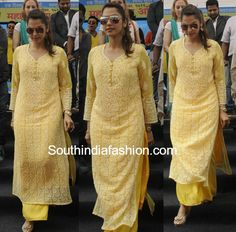 Isha Koppikar in a Palazzo Suit at clean thane event, palazzo with chikankari kurta Best Indian salwar CLICK VISIT link above for more options Kurta Designs Women, Salwar Designs, Kurti Designs Party Wear, Blouse Designs, Casual Indian Fashion, India Fashion, Indian Attire, Indian Outfits, Indian Dresses