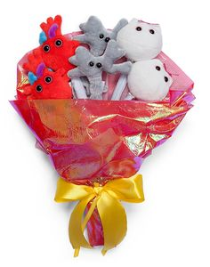This plush bouquet contains two egg cells (human ova), two brain cells (neurons), and two hearts. Each one will fit in the palm of your hand. The little plush are attached to their stems with plastic snaps. They arrive in a cellophane wrap, ready to give.