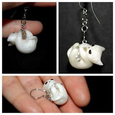Cute tiny kawaii chibi earrings, little white kitty cat, polymer clay totem pendant, little kitten, tiny anime earring, chibi cat, clay cat