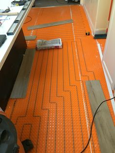 Ditra Heat membrane and wire installed, looking forward to a warm kitchen floor
