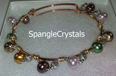Pearl And Pewter Beaded Custom Wrapped Rose Gold Expandable Wire Bangle Bracelet by SpangleCrystals on Etsy