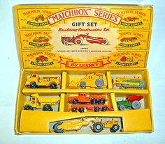 Matchbox Building Constructors Gift Set featuring seven industrial toy cars, United Kingdom, 1960, by Lesney.