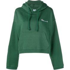 VETEMENTS Hooded Sweatshirt ($595) ❤ liked on Polyvore featuring tops, hoodies, sweatshirt, vetements, print hoodie, patterned hoodies, green top, long sleeve tops and print hoodies