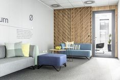 Gallery of Office Space in Poznan / ZONA Architekci - 18 Corporate Interiors, Office Interiors, Scandinavian Office, Office Entrance, Timber Screens, Design A Space, Waiting Area, Contemporary Office, Cuisines Design