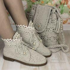 Купить Льняные ботиночки и сумка комплект в интернет магазине на Ярмарке Мастеров