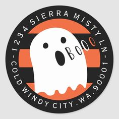 Halloween Cute Ghost Circle Return Address Label - tap/click to get yours right now!  #circular #address #labels #halloween #stickers Halloween Labels, Halloween Party Supplies, Halloween Make, Halloween Stickers, Halloween Design, Halloween Party Decor, Cute Ghost, Diy Invitations, Return Address Labels