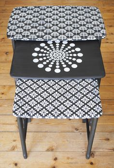 Jasmine Nest Of Tables covered in pattern using the Lodi, Agra and Santushti Stencils. #stencils #nicolettetabramstencils #paintedfurniture nicolettetabram.co.uk