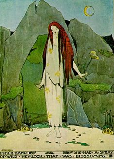 """Jessie M. King. """"In her hand she had a spray of wild hemlock that was blossoming."""" from The Fisherman  and His Soul"""