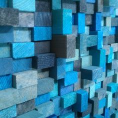 Wall Sculpture  Aqua Blue Wood Blocks by TateLowe on Etsy, $135.00