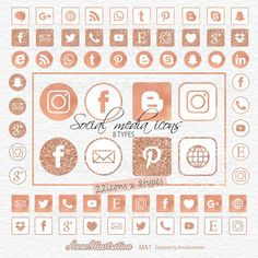 Rose glitter social media icons clipartRose gold foilRound | Etsy Simple Collage, Website Icons, Icon Collection, Rose Gold Foil, Social Media Icons, Embroidery Files, Collage Sheet, Paper Background, App Design
