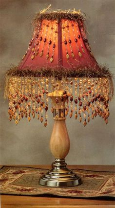 Charmant Beaded And Eyelash Trim Lamp Shade Not The Colors But The Idea Of Beads On  Top