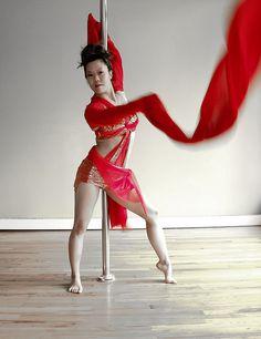 Chinese Water Sleeve Pole Dancer by Carolyn Chiu