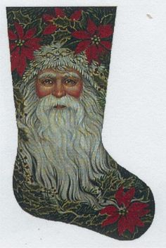 Santa u0026 Poinsettia Stocking hand-painted canvas by Tapestry Tent & christmas stockings to needlepoint on Pinterest | 40 Pins ...