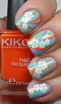 Tropical Hawaiian Flower Nail Design