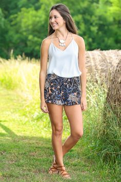 Smoke Colored Tank | Patterned Shorts | Cognac Sandals | Summer Jewelry | Summer ootd | Red Dress Boutique |