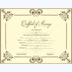 blank marriage certificate template for Microsoft Word. #printablemarriagecertificate #wedding #certificate