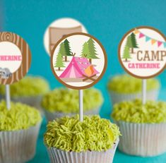 Backyard Camping Parties, Tent Camping, Glamping, Family Camping, Cupcakes, Cupcake Party, Food Labels, Party Desserts, Party Printables