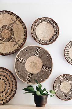 binga baskets Decor, Tribal Home Decor, African Home Decor, Boho Decor, Vintage Baskets, House Interior, Fiber Wall Art, Baskets On Wall, African Inspired Decor