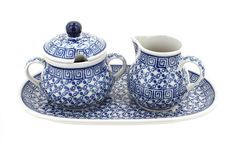 Polish Pottery Olympia Small Sugar and Creamer Set with Tray ** Get more discounts! Click the pin : Bakeware