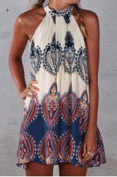 Ethnic Round Neck Sleeveless Printed Dress For Women