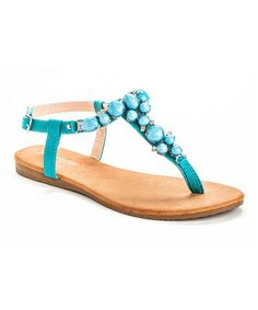 Loving this Turquoise Embellished Queen T-Strap Sandal on #zulily! #zulilyfinds
