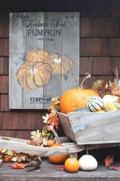 Vintage repurposed palette wood pumpkin seed