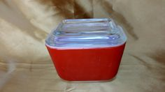 Vintage Pyrex Refrigerator Dish with Glass Lid # 501 B C Primary RED 1.5 cup  - retro cool *eb