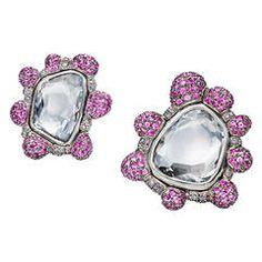Otto Jakob Pink Sapphire Uncut Diamond Gold Earrings