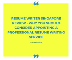 Why You Should Consider Appointing a Professional Resume Writing Service http://ow.ly/LUib302ZYZN #ozresumes #resumewritersingapore