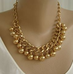 Heavy Curb Link Fringe Necklace Goldtone Beads Chain Jewelry