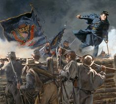 """""""Medal of Honor' by Don Troiani shows Capt. Gould vaulting into the Confederate trenches on April 2, 1865."""