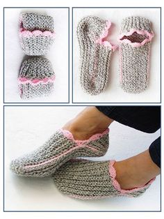 Crochet - For a neat and snug fit, the fabric must be flexible and stretchy, like in knitting! To achieve this comfort in crochet, these slippers are worked sideways in slip-stitch ribbing. A great beginner slipper design. Crochet Sole, Easy Crochet Slippers, Puff Stitch Crochet, Annie's Crochet, Crochet Slipper Pattern, Crochet Boots, Crochet Crafts, Slip Stitch, Knit Slippers Free Pattern
