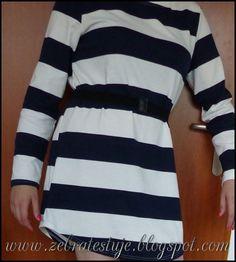 Zebra Testuje: Navy White Crew Neck Striped Loose Dress - Od ROMW...