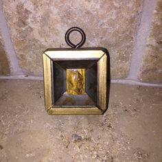 Small Gold and Khaki Square with Carved Cameo