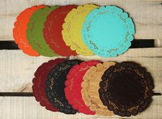 Laser engraved wood doilies in your choice of colours - would be fantastic charger plates or used as part of your centrepieces, super cute!