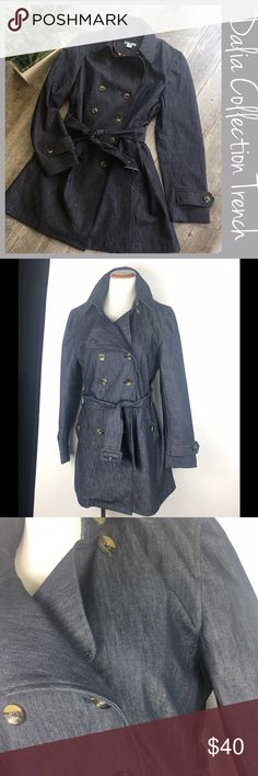 """Denim Trench Size 12 Dalia Collection Denim Short Trench. Size 12. Fits TTS. Belt and 2 front pockets. Preowned but like new. Measurements  Bust 19.75"""" Length from shoulder 32"""" Sleeves 23"""" Hips 23"""". Bundle and Save. I ship same day or next almost always. Suggested User. Dalia Collection Jackets & Coats Trench Coats"""