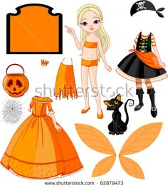 Pointing Paper Doll with three dresses for Halloween Party
