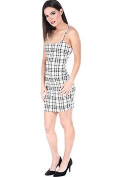 a011f15a69 SALT TREE Womens Checkered Scoop Neck Midi Dress --    AMAZON BEST BUY
