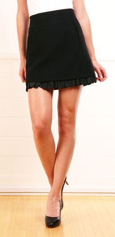 Pringle of Scotland Black Wool Ruffled Mini Skirt, idea: put ruffle at bottom of skirt