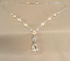 Sterling Silver, Ivory Pearls and Swarovski Elements Rhinestone Necklace, Bridal Necklace, Wedding Jewelry, Rhinestone Jewelry $48