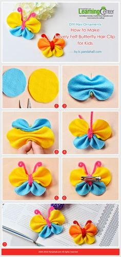 frhlingsdeko basteln avec des coton demaquiller DIY Hair Ornaments - How to Make Lovely Felt Butterfly Hair Clip for Kids from : Ribbon Crafts, Fabric Crafts, Sewing Crafts, Sewing Ideas, Sewing Diy, Diy Hair Bows, Diy Bow, Diy Hair Clips, Felt Hair Clips