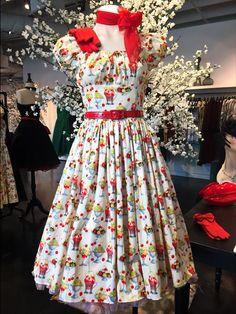 Bernie Dexter 1950s Cream & Maraschino Cherry Sundae Jodi Swing Dress