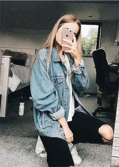 Jean Jacket With A White oversized to and Black ripped Jeans