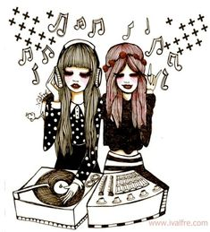 Sharing music with ur friends!  Valfre illustrations