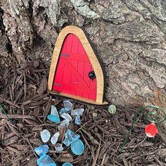 Fairy Door 'Iris' in Red Red Fairy door Fairy door | Etsy