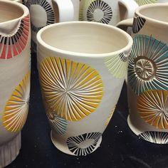 pottery glazes My sunrise this morning Can't wait to start glazing these babies tomorrow! ________________________________________________________ Underglaze by . Ceramic Design, Ceramic Decor, Ceramic Bowls, Ceramic Art, Pottery Mugs, Ceramic Pottery, Pottery Art, Ceramic Texture, Clay Texture